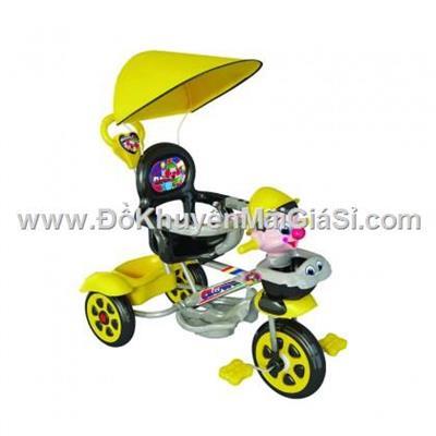 Chú hề màu vàng: Xe 3 bánh Nhựa Chợ Lớn L10 có bảo hiểm, nhạc, mái che, cần đẩy - Phí giao hàng tính riêng 50 ngàn