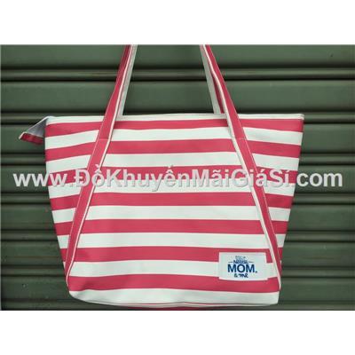 Túi xách Tresemme chống ướt sọc hồng trắng - Kt: (38 x 33 x 15 x 29) cm