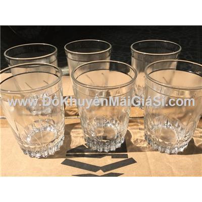 Bộ 6 ly thủy tinh uống trà đá có khía - Dung tích ly: 260 ml