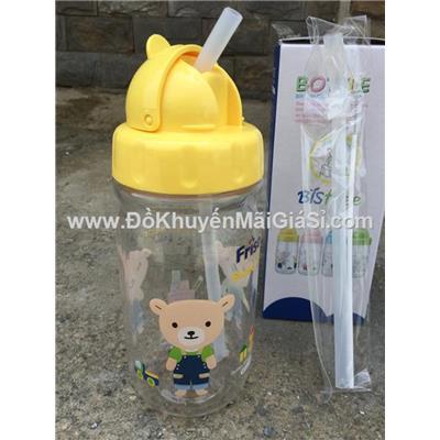 Bình Lock&Lock Sweetie Bear 360ml ABF630Y có ống hút cho bé - kèm ống hút thay thế + cọ rửa (Bình màu vàng)