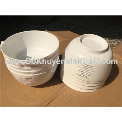 Lốc 10 chén cơm nhựa melamine trắng - Kt: (11 x 5.5) cm