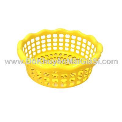 Rổ nhựa tròn Tân Lập Thành kiểu lượn sóng, Knorr tặng - Kt: (25.5 x 25.5 x 9.5) cm