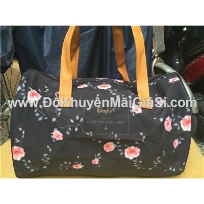 Túi trống Comfort màu đen in hình hoa hồng - Kt: (40 x 24.5 x 20.5) cm