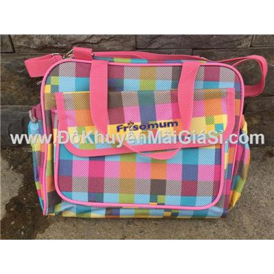 Ca rô: Túi xách Friso Mum nhiều ngăn có quai đeo thích hợp cho bé hoặc các bạn nữ đi học - Kt: (30 x 24 x 12) cm