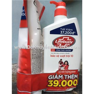 Bộ đôi sữa tắm Lifebuoy bảo vệ vượt trội chai vòi 850g + túi 850g - Date: 2020 (Màu đỏ)  Bo doi sua tam Lifebuoy bao ve vuot troi chai voi 850g + tui 850g - Date: 2020 (Mau do)