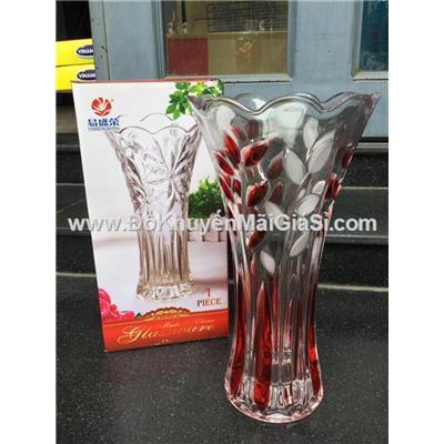 Bình cắm hoa thủy tinh miệng loe, cao 25cm - Sữa Nuti tặng