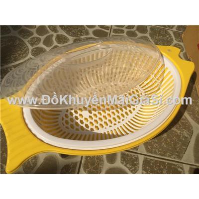 Bộ thau rổ nhựa Tân Lập Thành hình con cá có nắp đậy - Kt: (39 x 22 x 11) cm  Bo thau ro nhua Tan Lap Thanh hinh con ca co nap day - Kt: (39 x 22 x 11) cm