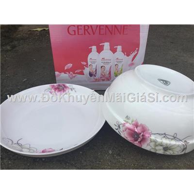 Bộ 1 tô + 1 dĩa sứ in hoa mẫu đơn có nhũ - Sữa tắm Gervenne tặng