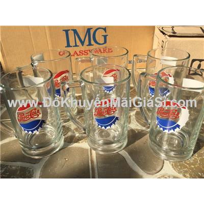 Bộ 6 ly thủy tinh thân thẳng có quai uống bia, nước ngọt của Pepsi tặng - Dung tích ly: 400 ml