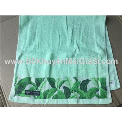 Khăn Tresemme màu xanh phối lá bạc hà ở chân khăn - Kt: (80 x 40) cm