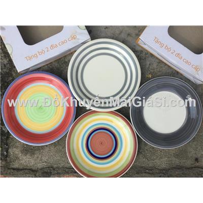 Bộ 2 dĩa sứ sắc màu 7.5 in Unilever tặng có hộp - Kt: (19 x 2) cm