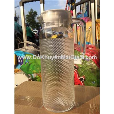 Bình thủy tinh tròn 1.1 lít kiểu chấm bi nhỏ, nắp nhựa màu trắng - Kt: (24.5 x 8.5 x 11.5) cm