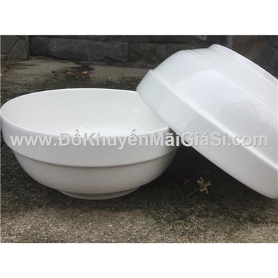 Tô sứ trắng cỡ lớn 8 in kiểu bầu ngấn - Kt: (19.5 x 8.5) cm