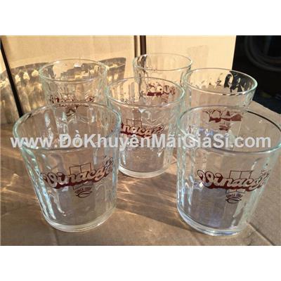 Bộ 6 ly thủy tinh uống trà đá vân sọc, cafe WakeUp tặng - Dung tích ly: 250 ml