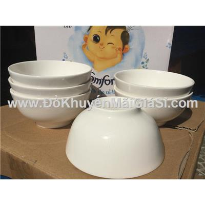 Hộ 6 chén sứ trắng ăn cơm Comfort tặng - Kt chén: (11 x 5.5) cm