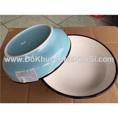 Bộ 2 dĩa sứ sâu lòng màu xanh dương pastel 6.5 in - Kt: (17 x 4.5) cm