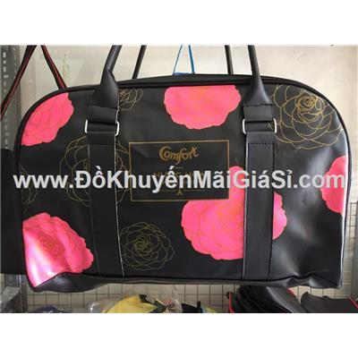 Túi xách du lịch Comfort chống ướt, màu đen in hoa - Kt: (43 x 14 x 25) cm