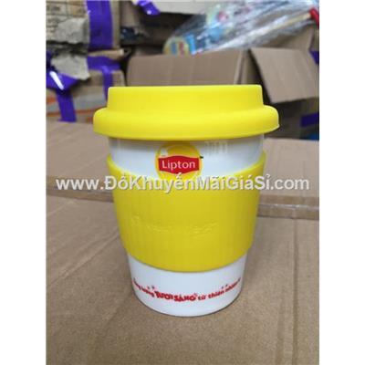 Ly sứ Eco Pastel Dong Hwa 280ml nắp đậy Silicon - Lipton tặng