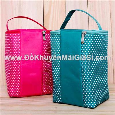 Túi giữ nhiệt chấm bi 2 lớp kiểu đứng - Có 4 màu, kt: (24 x 15 x 14) cm