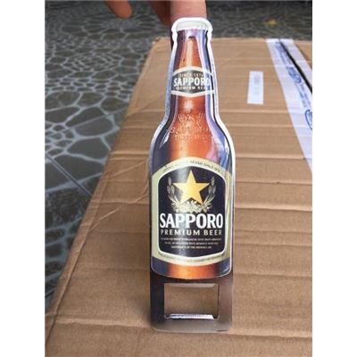 Dụng cụ khui bia Sapporo bằng kim loại đúc hình chai bia - Kt: (15.5 x 4.1 x 1.9) cm