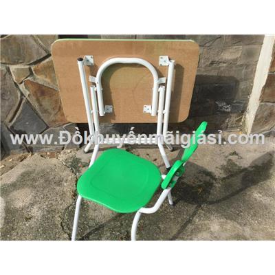 Bộ bàn xếp gọn kèm ghế nhựa chân sắt cho bé mẫu giáo - Phí giao hàng tính riêng 10 ngàn