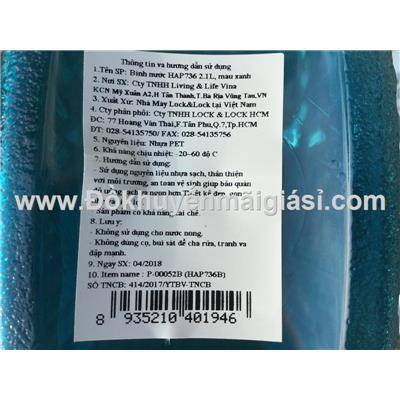 Bình nhựa Lock&Lock 2.1 lít HAP736B nắp bật màu xanh dương  Binh nhua Lock&Lock 2.1 lit HAP736B nap bat mau xanh duong