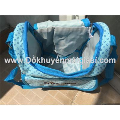 Xanh chấm bi: Túi xách Friso Mum dạng hộp nhiều ngăn cho mẹ đựng đồ bé - Kt: (28 x 22 x 15) cm