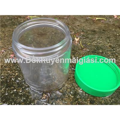 Hũ thủy tinh Knorr 450ml, nắp nhựa vặn - Kt: (8.5 x 8.5 x 11) cm