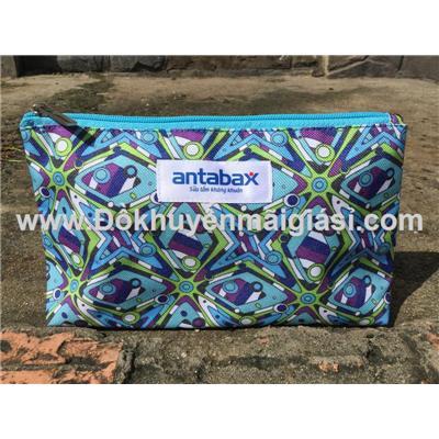 Ví hoa văn Antabax đựng đồ cá nhân/ mỹ phẩm size lớn - Kt: (23.5 x 6.5 x 14) cm - Có 2 màu: xanh dương, hồng