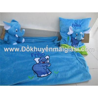 Bộ mền gối Friso hình voi cho bé - Màu xanh  Bo men goi Friso hinh voi cho be - Mau xanh