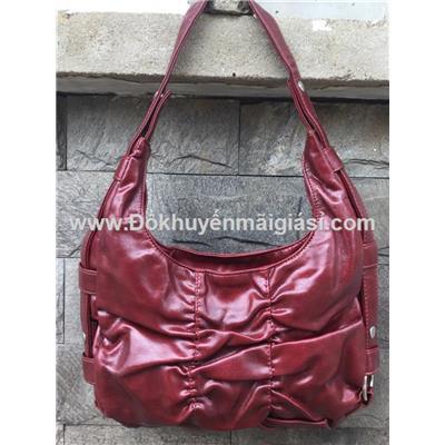 Túi xách da thời trang Nutifood màu đỏ đô - Kt: (30 x 20 x 8) cm