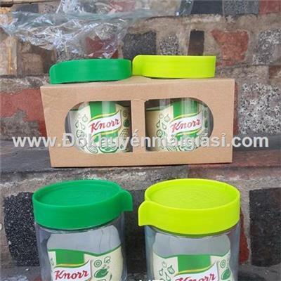 Bộ 2 hũ thủy tinh Knorr 450ml, nắp nhựa vặn - Kt: (8.5 x 8.5 x 11) cm  Bo 2 hu thuy tinh Knorr 450ml, nap nhua van - Kt: (8.5 x 8.5 x 11) cm