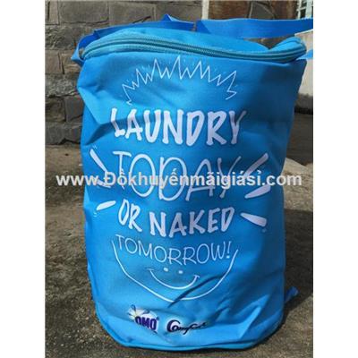 Thùng vải tròn đa năng Comfort tặng - Kt: (28 x 28 x 35) cm - Màu xanh