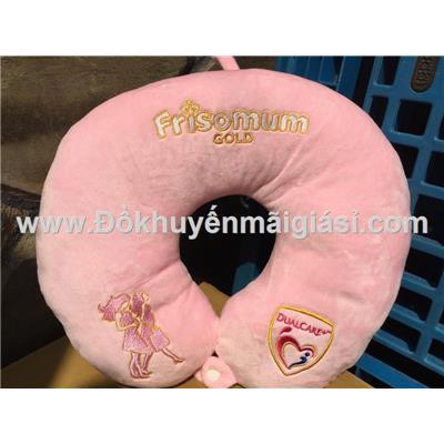Gối kê cổ Frisomum màu hồng siêu mềm mịn - Kt: (32 x 30) cm