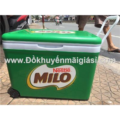 Thùng đá Milo nhựa Đại Đồng Tiến dung tích 35 lít, có bánh xe, quai kéo, nút xả - Kt: (53.5 x 37 x 37.6) cm - Phí giao hàng tính riêng 30 ngàn/ sản phẩm