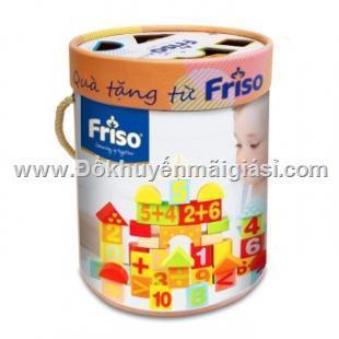 Bộ trò chơi lắp ghép chữ số bằng gỗ 100 chi tiết kèm hộp đựng của sữa Friso tặng - Kt hộp: (18 x 18 x 23.5) cm