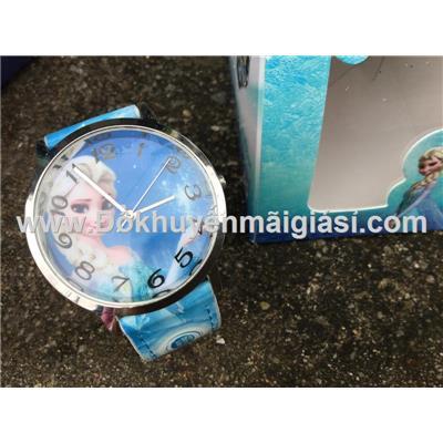 Elsa (Nữ hoàng băng giá): Đồng hồ đeo tay hoạt hình Disney cho bé của sữa Fristi tặng - Made in Hong Kong