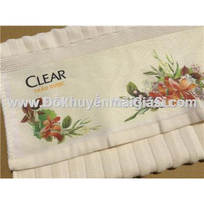 Bộ khăn tắm Clear thảo dược màu vàng nhạt gân sọc kèm bông tắm - Kt khăn: (80 x 45) cm