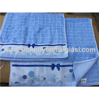 Bộ 2 khăn Dove màu xanh có nơ - Kt: (65 x 35) cm - (80 x 40) cm