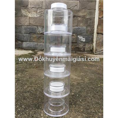 Bộ 5 hũ gia vị bằng nhựa có thể xếp chồng - Kt hũ: (7.2 x 7.2 x 7) cm