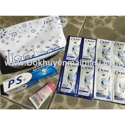 Bộ quà tặng Dove 5 món: túi đựng, kem đánh răng, gội xả Dove, dưỡng trắng Pond