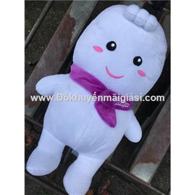 Em bé Bobby Chan nhồi bông thắt nơ tím siêu xinh - Kt: (33 x 22 x 12) cm