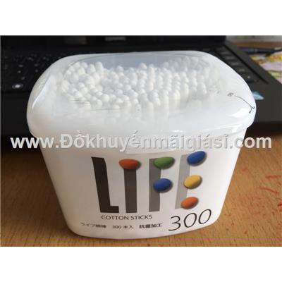 Hộp 300 tăm bông an toàn LIFE thân giấy, kháng khuẩn