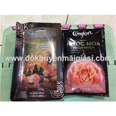 Hộp 4 gói nước xả vải Comfort hương nước hoa thiên Rose 48ml