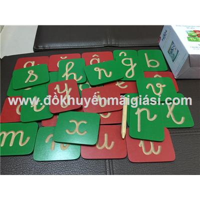 Bộ đồ chơi gỗ bé yêu tập viết chữ cái Tiếng Việt gỗ Đức Thành