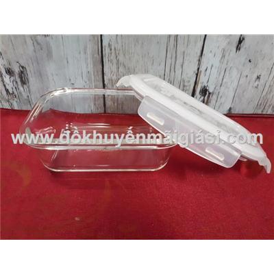 Hộp thủy tinh chữ nhật chịu nhiệt Lock & Lock 380ml nắp gài - Mã sp: LLG422