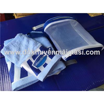 Bộ 2 khăn xanh Vaseline kèm túi đựng có quai xách