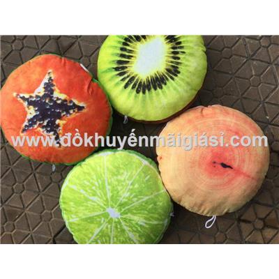 Gối trái cây 3D hình tròn Kotex tặng có móc treo - Kt: (30 x 30 x 8) cm - Hết Chanh, Kiwi