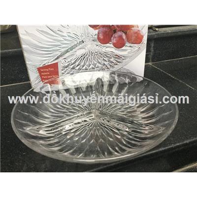 Dĩa thủy tinh kim cương 3 ngăn - Đk 22cm, cao 4cm