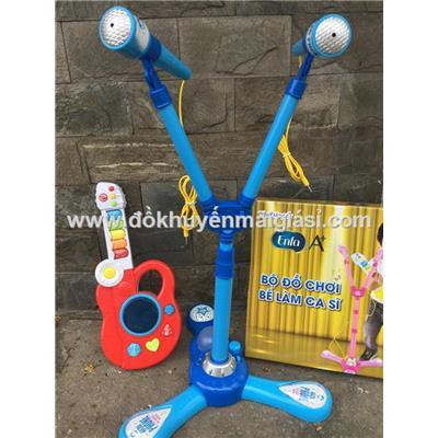 Đồ chơi nhạc cụ đàn + micro cho bé, kèm pin - Sữa Enfa tặng - Có màu hồng và màu xanh